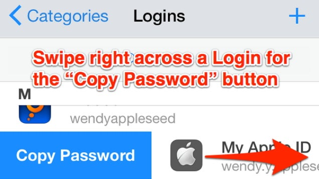 Swipe to the Right to Copy 1Password Passwords