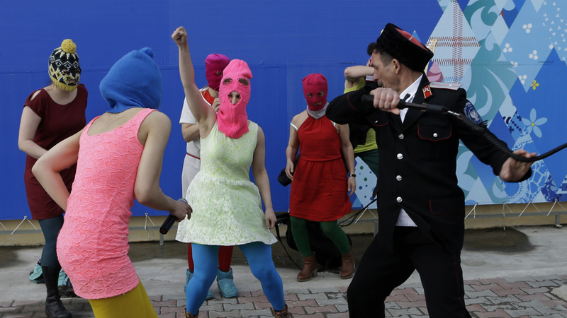 Pussy Riot Attacked by Whip-Wielding Cossacks in Sochi