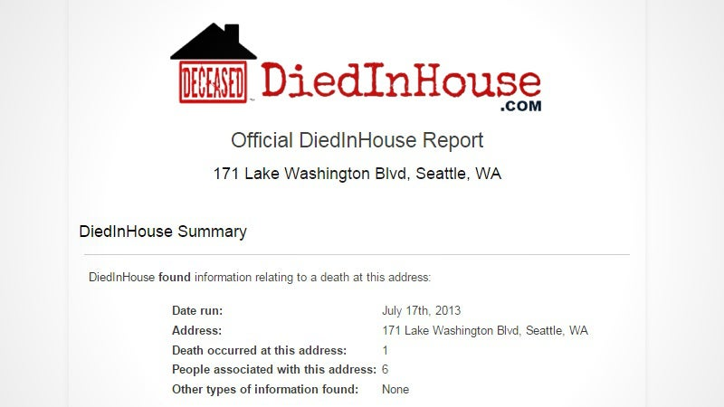 Find Out If Anyone Has Ever Died Inside Your House With