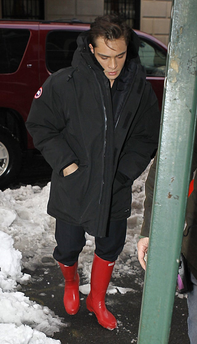 Ed Westwick's Boots Are Red Hot