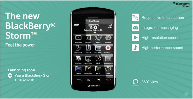 Blackberry Storm Goes Live On Vodafone With 3D Tour, Official Spec Page