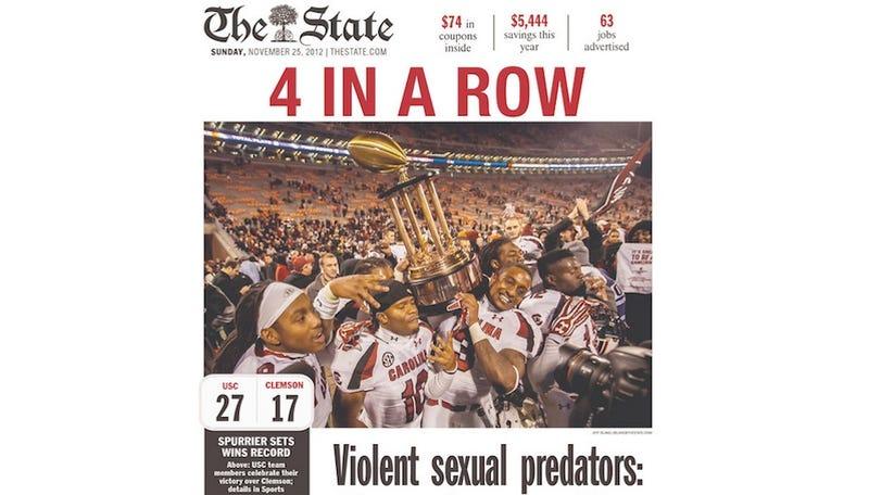 South Carolina Gamecocks Top Clemson, Violent Sexual Predators