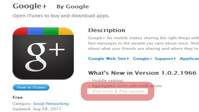 Google+ Released for iPad and iPod Touch