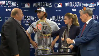 Extremely Nervous Chevy Exec Presents World Series MVP Award