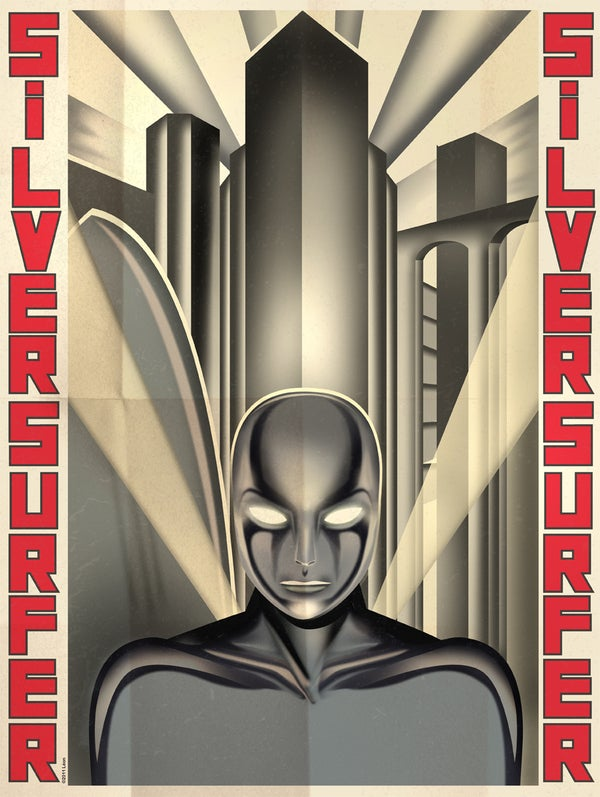 Fritz Lang's Silver Surfer, Bauhaus Iron Man, and other Art Deco superheroes