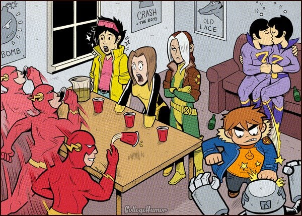 Comic Book University: where superheroes go to further their education, and get drunk