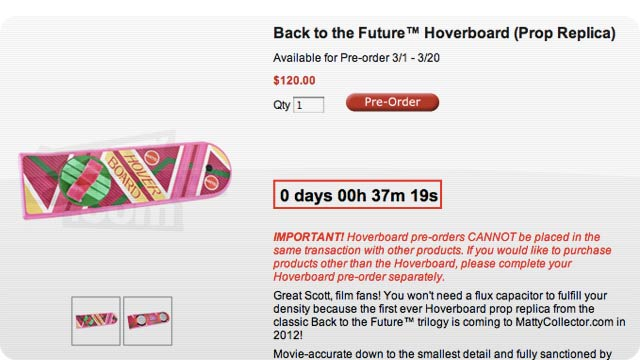 Pre-Order the Back to the Future Hoverboard Right Now for $120