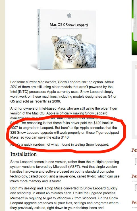 Mossberg Recommends Illegal Use of Snow Leopard Install Disc