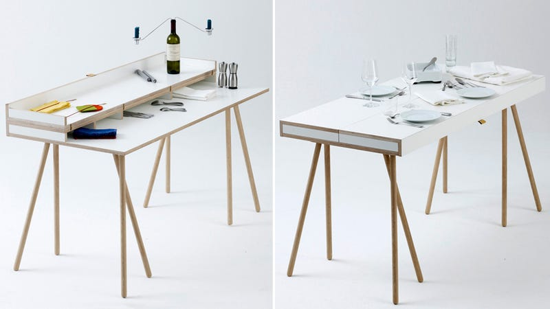 Transforming Desk Hides Your Work When It's Time To Dine