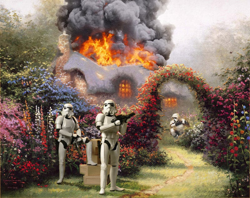 Thomas Kinkade's cottage paintings upgraded with Star Wars
