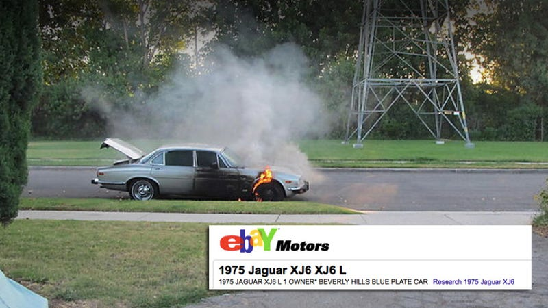eBay user selling Jaguar that burst into flames mid-auction