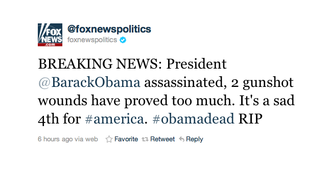 Obama Assassinated, According to Hacked Fox News Twitter
