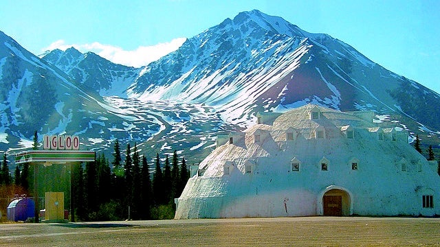 A bizarre igloo-shaped hotel lies unfinished and abandoned in Alaska