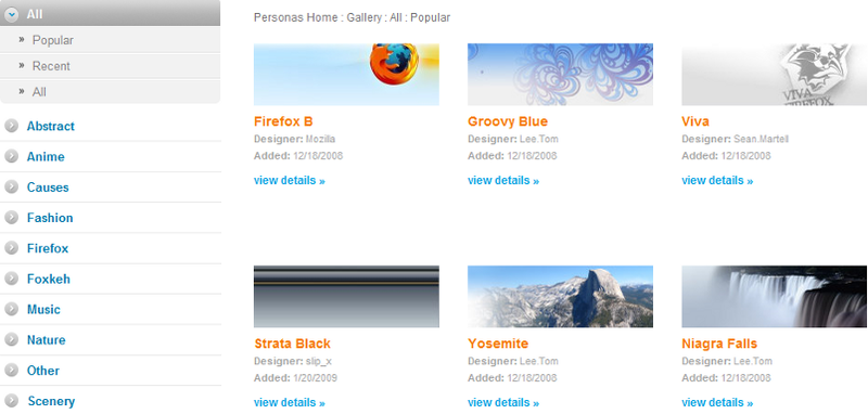 GetPersonas.com Offers Instant-Preview Firefox Themes