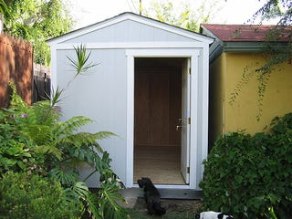 Backyard shed turned home office for Shed office combo