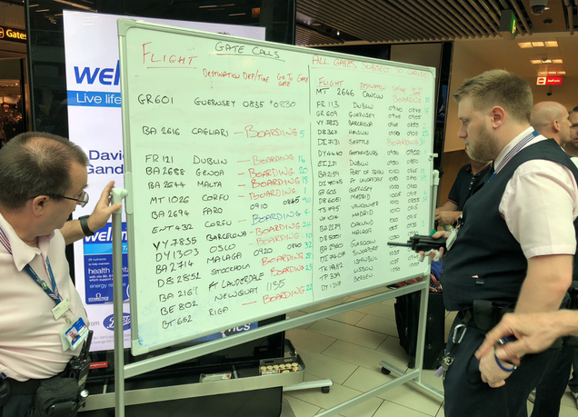 Gatwick Airport put flight info on whiteboards after screens all broke
