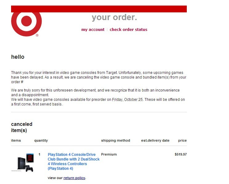Looks Like Target Is Canceling PS4 Preorder Bundles For Delayed Games [UPDATE]