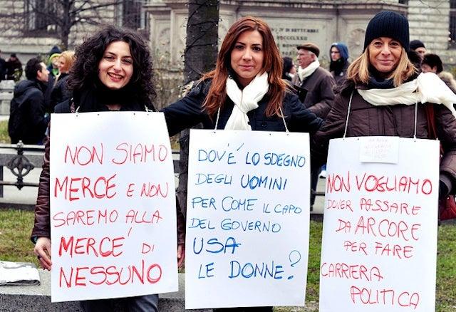 Italians Protest Berlusconi With Panties And Bunga Bunga Balloons