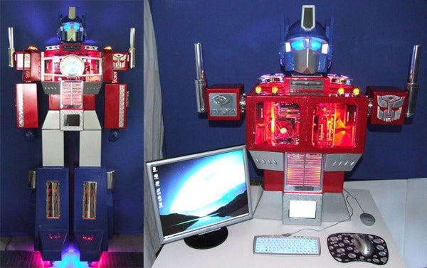 Optimus Prime Case Mod Almost Seven Feet Tall, Eats Mac Minis