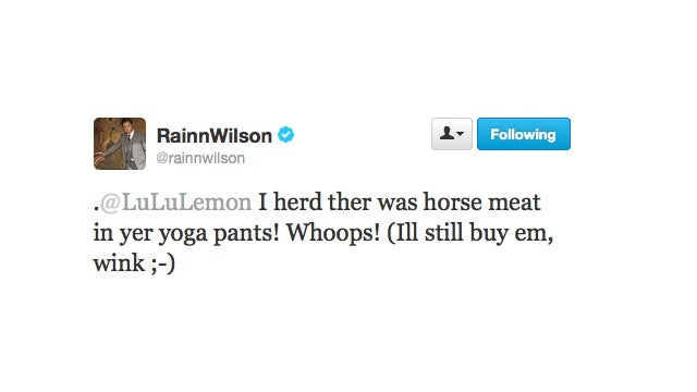 Rainn Wilson Supports Lululemon Because Even Horse Meat Looks Good In Yoga Pants