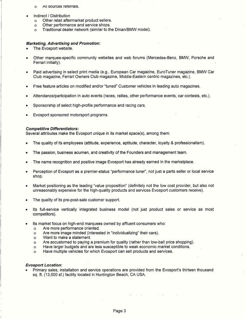 Evosport Investor Letter