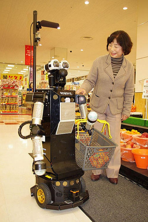 Robovie II Helps You Load Up On Beer and Frozen Pizza at the Supermarket