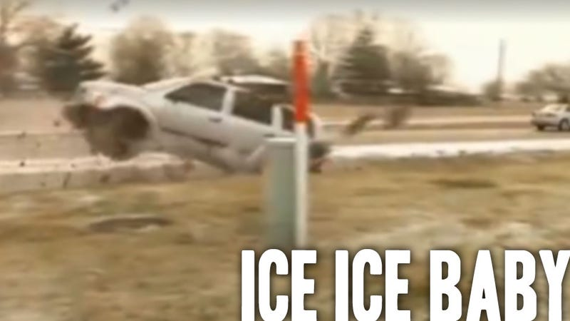 Watch Black Ice Send Cars Crashing