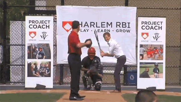 Prince Harry Has A Pretty Decent Baseball Swing
