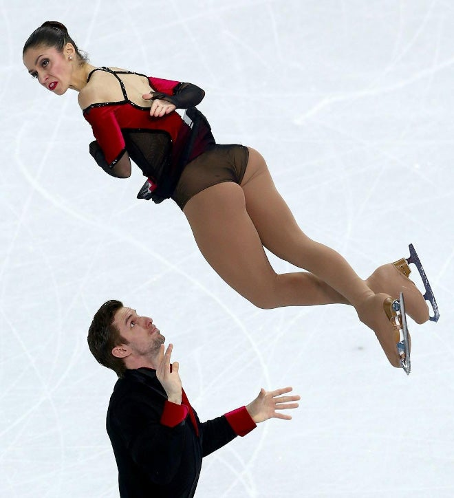 The laws of physics turned these pretty ice skaters into ugly derps