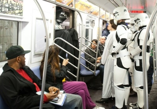 Darth Vader and the Stormtroopers invade the New York subway