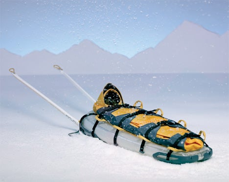 Inflatable Rescue Sled Concept Converts into Backpack