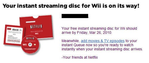 Wii Netflix Streaming Discs Are In The Mail