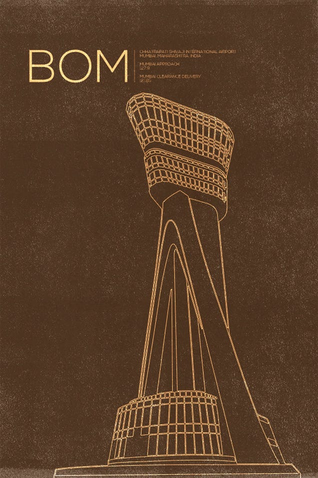 10 Graceful Posters Immortalizing the World's Air Traffic Control Towers