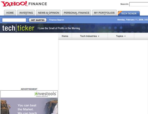 Yahoo launches Tech Ticker ... sort of