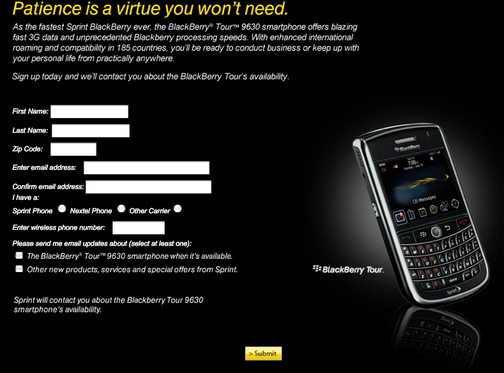 Sprint Jumps On the BlackBerry Tour Dogpile, Announces Pricing at $199