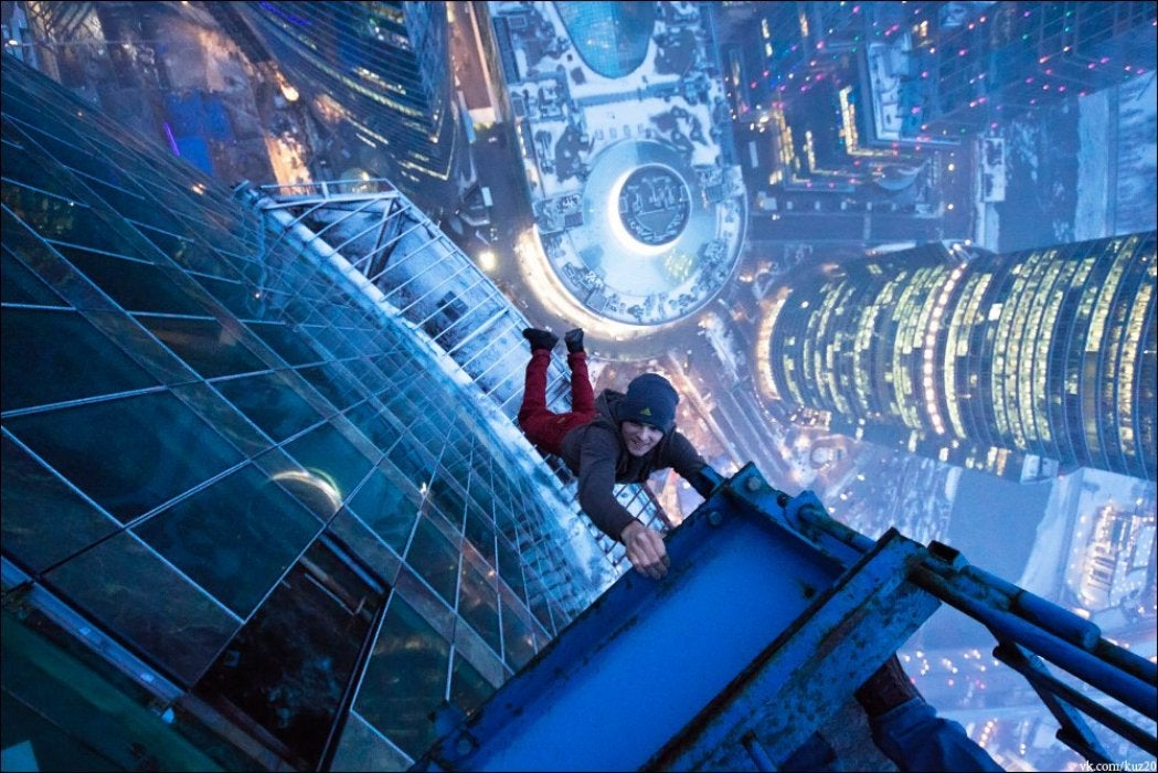 This may be the most awesome image of the kids who hang from buildings