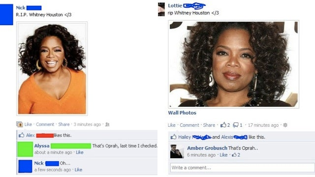 A Lot of People Thought Oprah Was Whitney Houston on Facebook