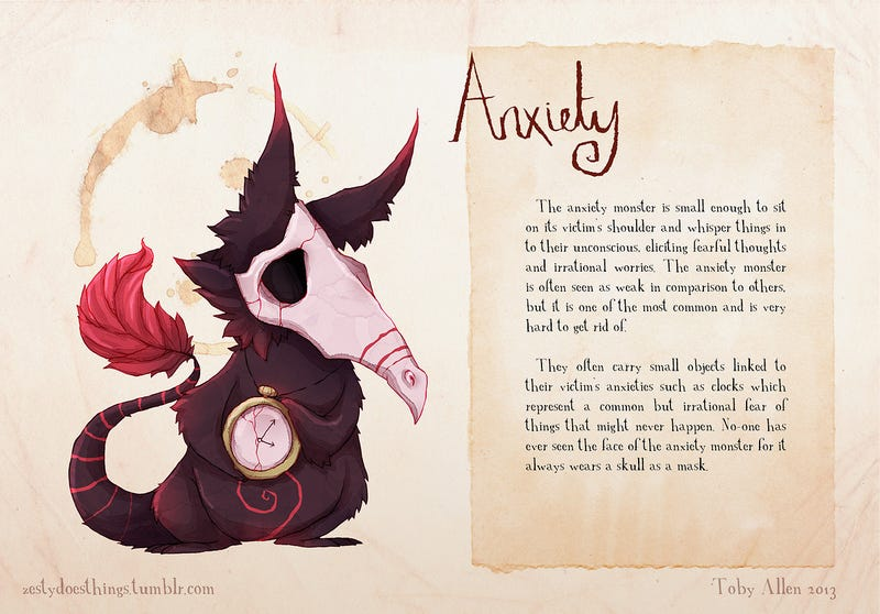 The demons of mental illness illustrated as real monsters