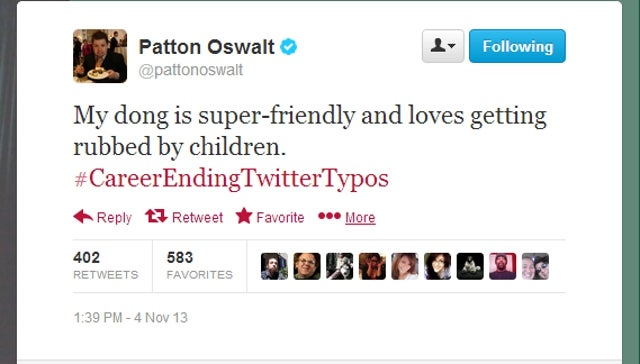 Patton Oswalt Makes Career Ending Twitter Typo, Other Comedians Follow
