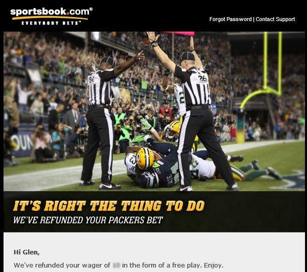 One Online Sports Book Is Refunding Everyone Who Bet On The Packers [UPDATE]