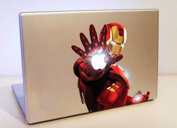 Full-Color Iron Man MacBook Decal Kills Bad Guys with Branding
