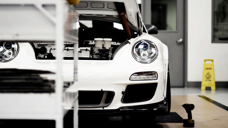 A factory fresh Porsche 911 GT3 race car is a stunning canvas