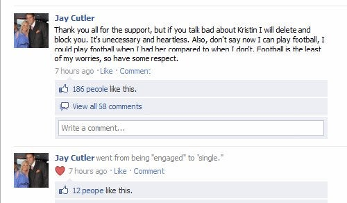 Jay Cutler Re-Lists Himself As Single On Facebook (UPDATE: Fraudulence!)