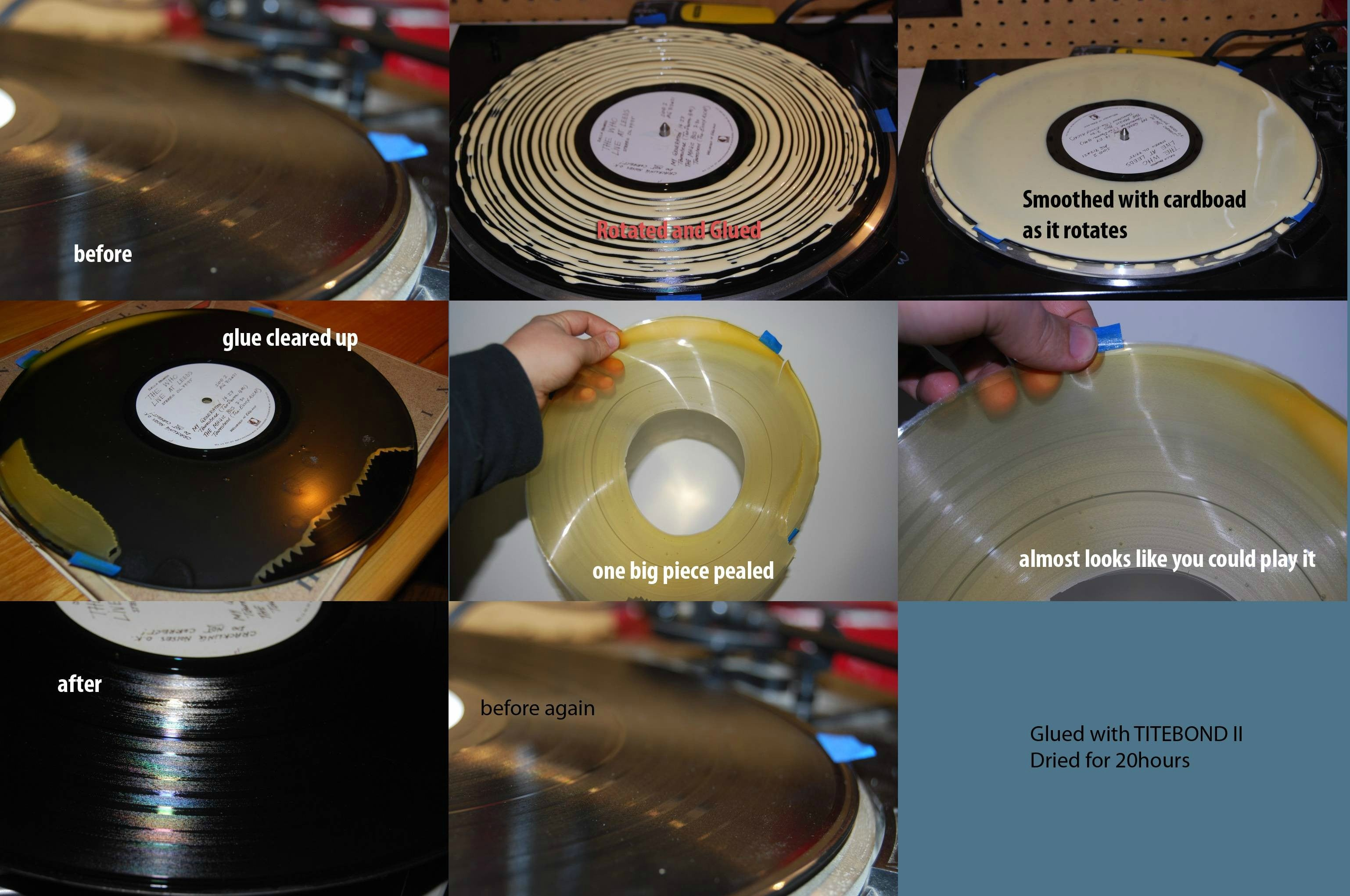 Clean Your Records With Glue
