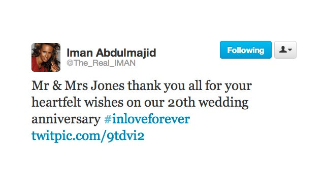 David Bowie and Iman Celebrate 20th Year as Most Beautiful Married Couple on the Planet