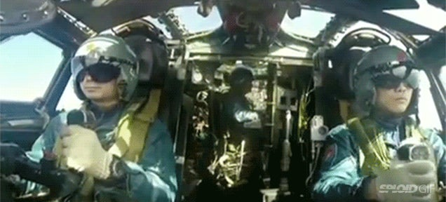 Watch the Chinese Air Force bombing the Yellow River to destroy its ice