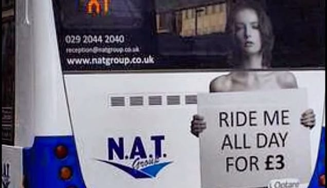 Bus Co. Advertises Fare With Topless Models Begging 'Ride Me All Day'