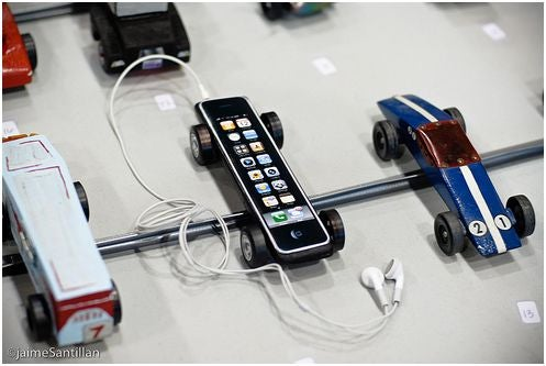 Pinewood Derby iPhone: And You Thought the 3G Was Fast