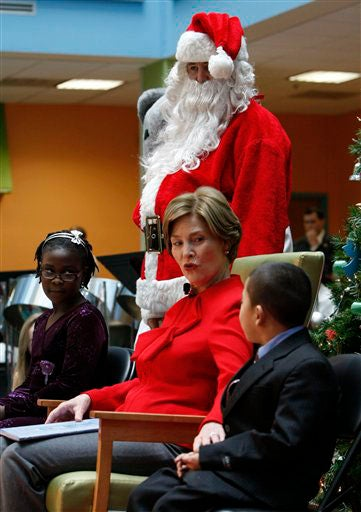 Laura Bush: Schoolkids & Santa Have Her Surrounded