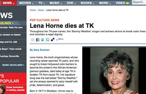 EW.com's Reports Of Lena Horne's Death Greatly Exaggerated